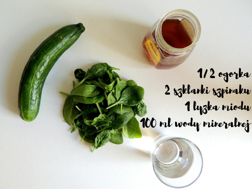 1%2F2 ogorka2 szklanki szpinaku1 lyzka miodu100 ml wody mineralnej